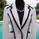 Cache $188 IVORY BLACK TRIM Top JACKET NWT 4/6/8 S/M LINED CLASSIC BLAZER