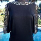 Cache $128 GOLD METAL STUD PEEK-A-BOO SLEEVE TUNIC Top NWT XS/S STRETCH ELASTIC