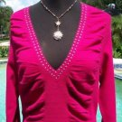 Cache $98 METAL STUD EMBELLISHED STRETCH Top NWT S/M/L RUCHED PLUNGING V NECK