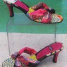 "Costablanca $125 2 3/4"" HEEL LEATHER Sandal Shoe NIB 8 MULTI COLOR SLIDE SILK"