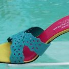 Donald Pliner $235 COUTURE NAPPA  LEATHER Shoe NIB TURQUOISE CRISS CROSS SLIDE