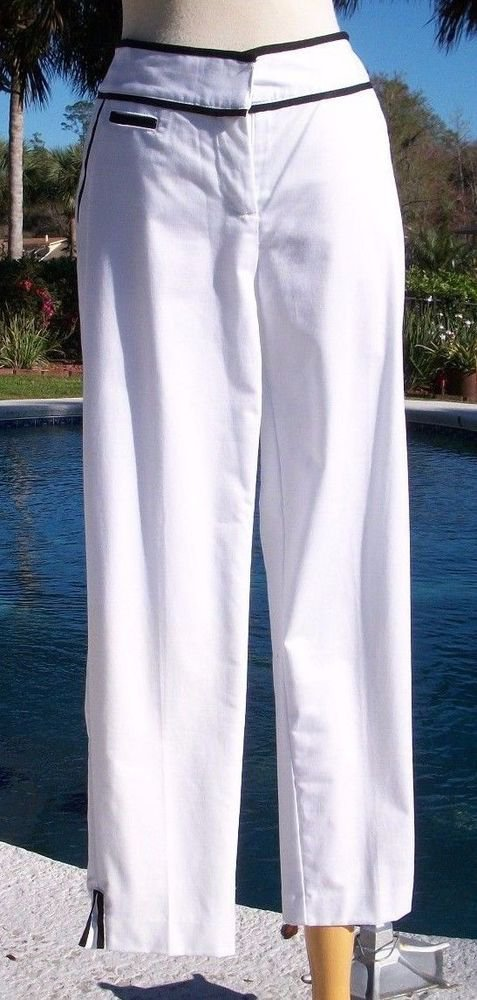 Cache $108 WHITE BLACK TRIM COMFORT Crop Pant NWT STRETCH 2/4/6/8/10/12/14 LINED