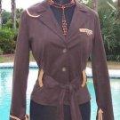 Cache $188 COTTON SUEDE + REMOVABLE BELT LEATHER TRIM Jacket Top NWT XS/S/M/L