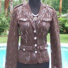 Cache $198 SEQUIN ENCRUSTED GEMSTONE BUTTONS Jacket Top NWT FITTED S/M/L STRETCH