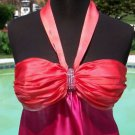 Cache $128 SILK RUCHED RHINESTONE EMBELLISHED HALTER Top NWT S/M Built-IN BRA