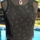 Cache $98 BLACK BEADED METALLIC EVENT Top NWT 4/6 S BODY HUGGING