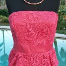Cache $228 PEPLUM LACE STRAPLESS EVENT DRESS NWT 0/2/4/6/8/10/12 Lined BUILT BRA