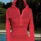 Cache $158 LUXE RHINESTONE BUTTONS PEEK-A-BOO HOODIE Top NWT COVER-UP XS/S/M