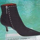 Donald Pliner COUTURE $350 EXPRESSO SILK ELASTIC LEATHER Boot Shoe NIB SIGNATURE