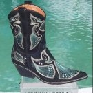Donald Pliner $625 WESTERN COUTURE BLACK SUEDE PEACE BOOT Shoe NIB INTRICATE