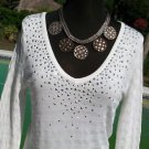 Cache $108 STRETCH EMBELLISHED METAL RHINESTONE~ Top NWT S/M/L/XL PLUNGING V