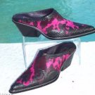 Donald Pliner $395 WESTERN COUTURE COBRA LEATHER BOOT MULE Shoe NIB HAIR CALF