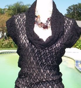 Cache $98 STRETCH LACE PUCKER BODY HUGGING Top NWT XS/S/M/L Tunic Adjustable