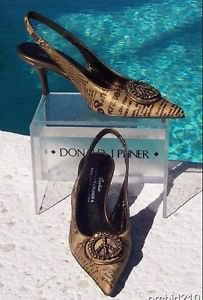 Donald Pliner COUTURE $355 METALLIC HAIR CALF LEATHER Pump Shoe NIB SLINGBACK