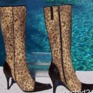 Donald Pliner $495 COUTURE PEACE GATOR Boot Shoe NIB FRENCH LEOPARD TAPESTRY