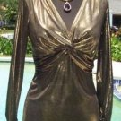 Cache  $98 STRETCH DARK GOLD METALLIC  RUCHED WRAP Top NWT S/M LOVE KNOT