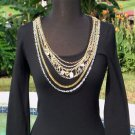Cache $98 STRETCH REMOVABLE GOLD SILVER METAL CHAINS Top NWT XS/S Lillie Rubin