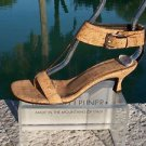 Donald Pliner COUTURE $325 NATURAL CORK LEATHER Shoe NIB WIDE ANKLE STRAP 6