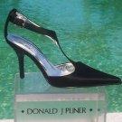 Donald Pliner $350 COUTURE LEATHER Pump Shoe NIB 6 BLACK SATIN T-STRAP SIGNATURE