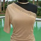 Cache $128 METALLIC 1 SHOULDER Top NWT XS/S STRETCH METAL EMBELLISHED