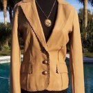 Cache $298 LAMB LEATHER JACKET Top NWT 0/2/4/6/8 WESTERN FLAIR CAMEL COLOR