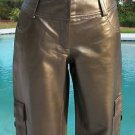 Cache $268 DARK GOLD BUTTER LEATHER LINED CARGO Pant NWT MOTORCYCLE XS/S/M/L