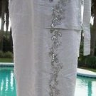 Cache $118 CARGO ROLL-UP SEQUIN EMBELLISHED Pant + BELT NWT DOVE GRAY