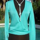 Cache $98 OCEAN BLUE SILK KNIT WRAP SHRUG Top NWT S/M SELF-BELT TIE STRETCH