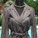 Cache $198 TRENCH COAT + BELT CRINKLE TWILL Jacket NWT XS/S LATTE COLOR METALLIC