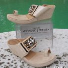 $295 Donald Pliner COUTURE METALIC LEATHER BEADED FLEX SOLE WEDGE SHOE TOE STRAP