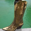 Donald Pliner $695 SIGNATURE WESTERN METALLIC PITONE SNAKE LEATHER BOOT Shoe NIB