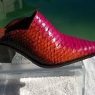 Donald Pliner $525 WESTERN COUTURE HAND PAINTED PYTHON Mule Shoe NIB LEATHER 6