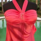 Cache $98 SILK RUCHED LACE-UP HALTER Top NWT XS/S BUILT-IN BRA CORAL