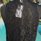 Cache $98 PEEK-A-BOO BLACK LACE BACK CAMI Top NWT S/M/L/XL WHITE FRONT STRETCH