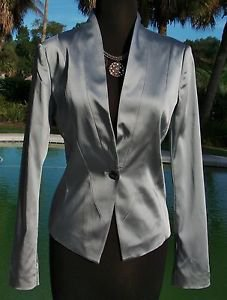 Cache $188 SILVER Top JACKET NWT 0/2/4/6/8/10 LINED CLASSIC BLAZER