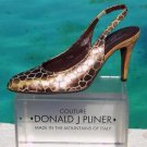 Donald Pliner $275 COUTURE METALLIC LINEN GATOR CORK Pump Shoe NIB 6 7.5