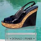 Donald Pliner $275 COUTURE PATENT LEATHER WEDGE Shoe NIB SAND CONGO RAFFIA