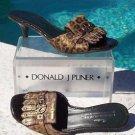 Donald Pliner $295 COUTURE GATOR LEATHER SLIDE Shoe NIB 6 HAIR CALF PEACE SIGN