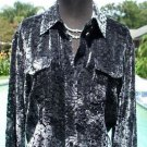 CHICO'S Chicos 1 $128 PEEK-A- BOO VELVET BURN-OUT Top NEW S/M  SLIVER BLACK