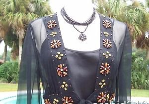 Cache $88 Lot 2 CAMI + TOP SILK WOOD BEAD EMBELLISHED NWT S/M/L WEAR TOGETHER OR