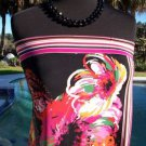 Cache $88 STRAPLESS CAMI TUBE TOP NWT XS/S STRETCH FAUX WRAP TROPICAL