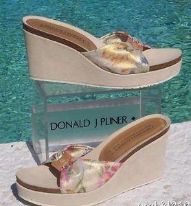 Donald Pliner $235 SUEDE LEATHER WEDGE  PLATFORM Shoe NIB METALIC MESH ELASTIC