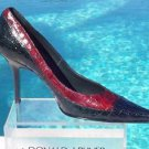 Donald Pliner $295 COUTURE GATOR LEATHER Shoe NIB 6 POINTY TOE PUMP NAVY RED