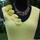 Cache $88 RIB KNIT PLUNGING V NECK 4 ROSES STRETCH Top NWT S/M/L