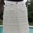 Cache $128 IVORY CROCHET PERCALE PEEK-A-BOO STRETCH Skirt NWT 0/2/4/10/12 XS/S/L