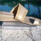 Donald Pliner $245 COUTURE METALLIC LEATHER WEDGE Shoe NIB TOE RING SANDAL 10.5