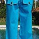 Cache $88 SLVER METAL BUTTONS CROP CAPRI Pant NWT XS/S/M STRETCH OCEAN BLUE