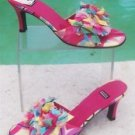 "Costablanca $159 2 3/4"" HEEL LEATHER Sandal Shoe NIB 8.5 MULTI COLOR SLIDE SILK"