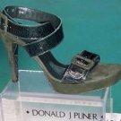 Donald Pliner $275 COUTURE GATOR PATENT LEATHER SANDAL Shoe NIB SUEDE SIGNATURE