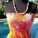 Cache $108 STRETCH ELASTIC STITCH STRAPLESS Top NWT  XS/S/M  TROPICAL DRESS